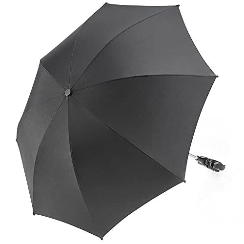 Zamboo - Sombrilla Carrito bebe Universal / Parasol Silla de Paseo flexible con soporte para tubos redondos y ovalados, Protección UV50+, diámetro 73 cm - Negro