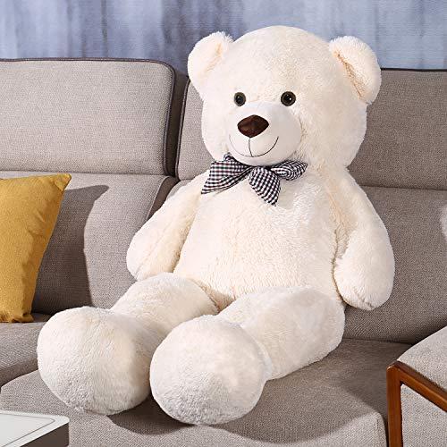 FSN Oso de Peluche Gigante Grande Teddy, 120cm Juguete de Peluche Osito Suave y Cariñoso Niños y Adultos Blanco