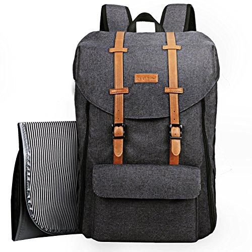 Mochila de viaje para bebés, bolsa de cambio de gran capacidad con bolsa/correas de cambio para cochecito/bolsillos aislantes (EU5312griso oscuro)