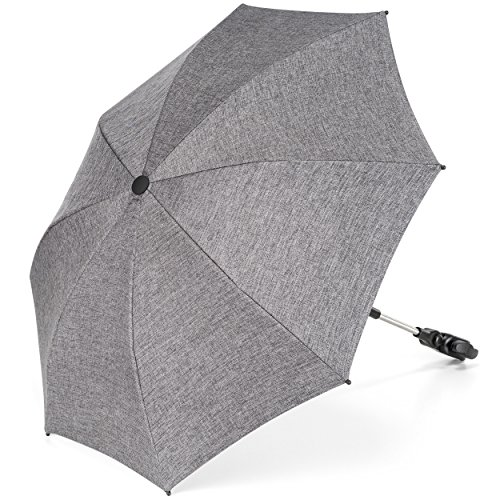 Zamboo - Sombrilla Carrito bebe Universal / Parasol Silla de Paseo flexible con soporte para tubos redondos y ovalados, Protección UV50+, diámetro 73 cm - Gris