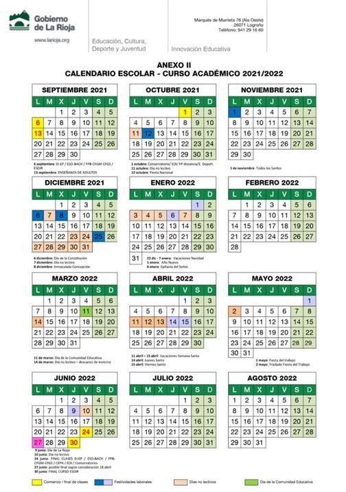 Calendario escolar de La Rioja 2021-2022